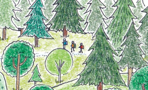 森でハイキングするイラスト